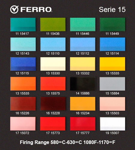 Glass Color pallete for for Ferro 15 series for opaque ceramic decals.