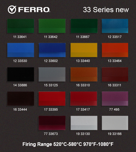 Color palette for Ferro 33 series used for glass color decorations