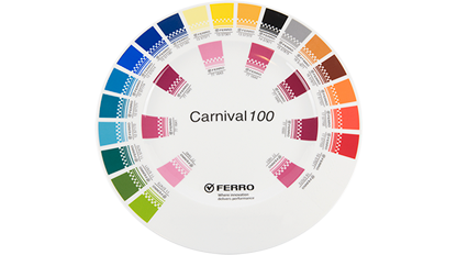 Ceramic plate decorated with onglaze decoration using Ferro Carnival100 color