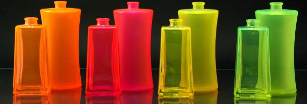 Bottles coated with different Neon Colours